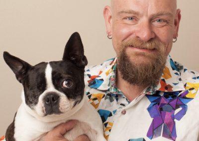 Dr. Miller holding dog